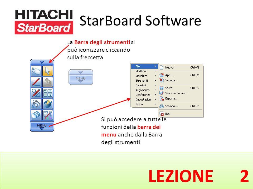 StarBoard Software LEZIONE 2 La Barra degli strumenti si può iconizzare cliccando sulla freccetta Si può accedere a tutte le funzioni della barra dei menu anche dalla Barra degli strumenti