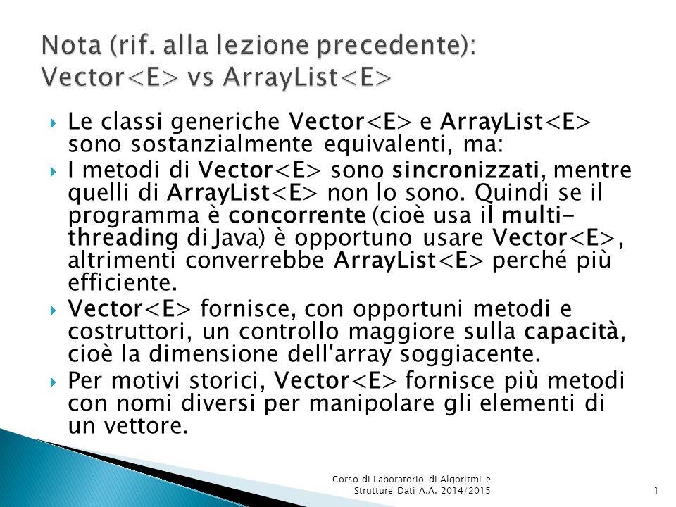  Le classi generiche Vector e ArrayList sono sostanzialmente equivalenti, ma:  I metodi di Vector sono sincronizzati, mentre quelli di ArrayList non