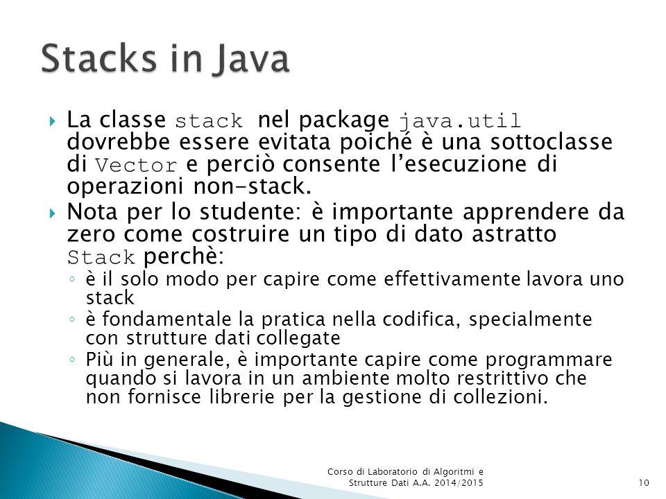  La classe stack nel package java.util dovrebbe essere evitata poiché è una sottoclasse di Vector e perciò consente l'esecuzione di operazioni non-st