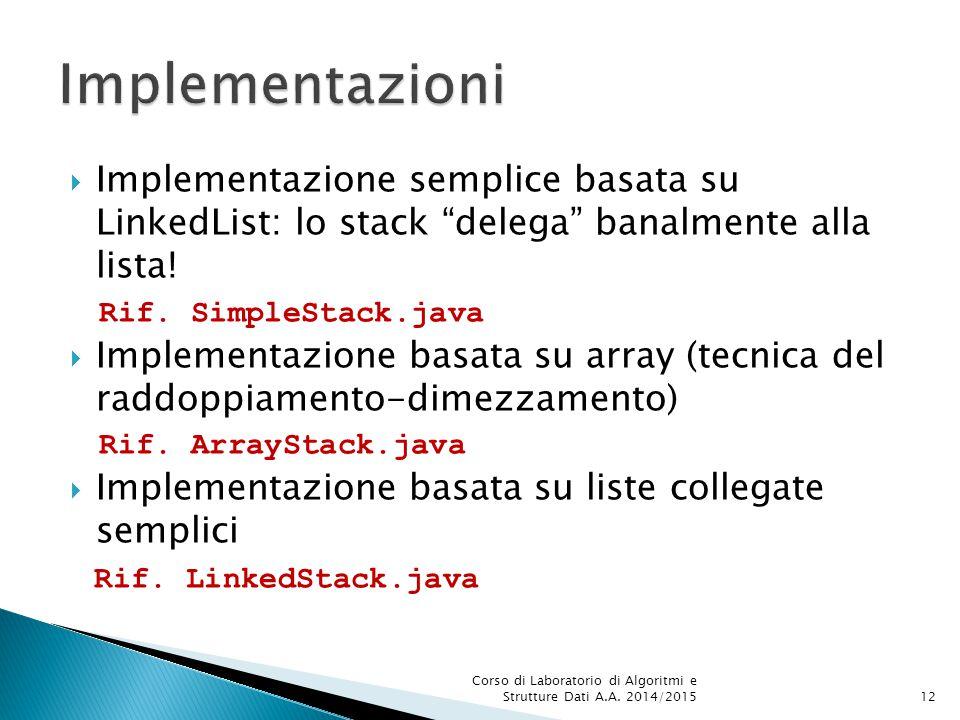 """ Implementazione semplice basata su LinkedList: lo stack """"delega"""" banalmente alla lista! Rif. SimpleStack.java  Implementazione basata su array (tec"""