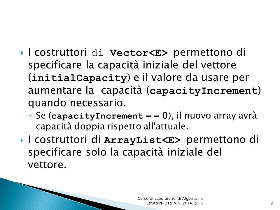  I costruttori di Vector permettono di specificare la capacità iniziale del vettore ( initialCapacity ) e il valore da usare per aumentare la capacit