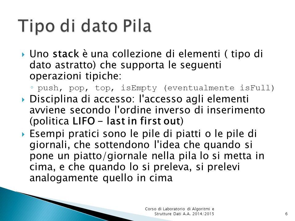  Uno stack è una collezione di elementi ( tipo di dato astratto) che supporta le seguenti operazioni tipiche: ◦ push, pop, top, isEmpty (eventualment