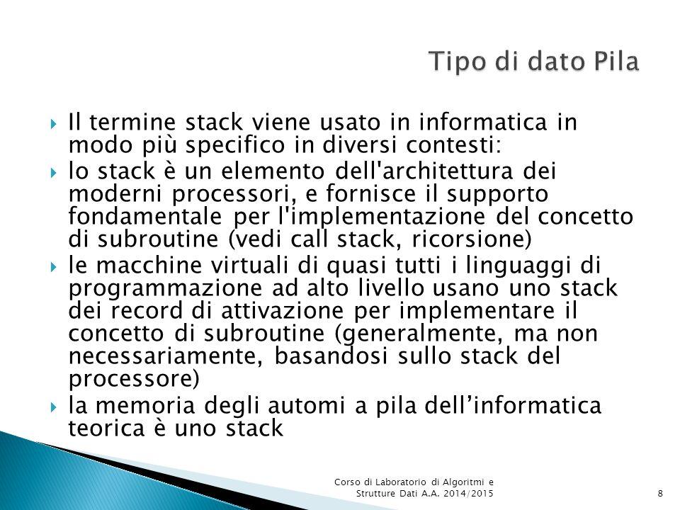  Il termine stack viene usato in informatica in modo più specifico in diversi contesti:  lo stack è un elemento dell'architettura dei moderni proces