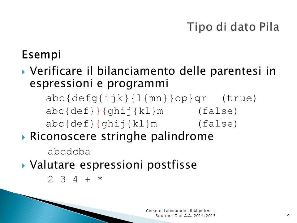 Esempi  Verificare il bilanciamento delle parentesi in espressioni e programmi abc{defg{ijk}{l{mn}}op}qr (true) abc{def}}{ghij{kl}m(false) abc{def}{g