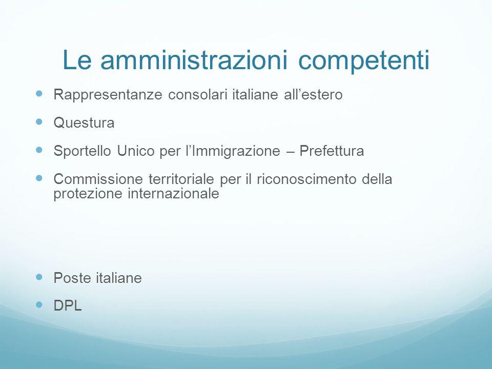 Le amministrazioni competenti Rappresentanze consolari italiane all'estero Questura Sportello Unico per l'Immigrazione – Prefettura Commissione territ