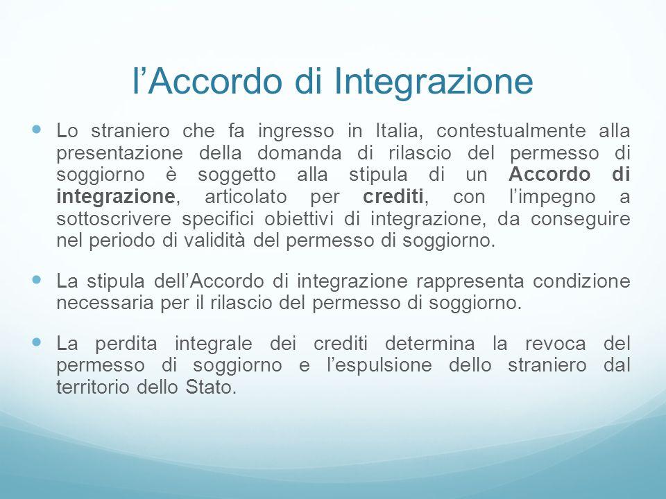 l'Accordo di Integrazione Lo straniero che fa ingresso in Italia, contestualmente alla presentazione della domanda di rilascio del permesso di soggior