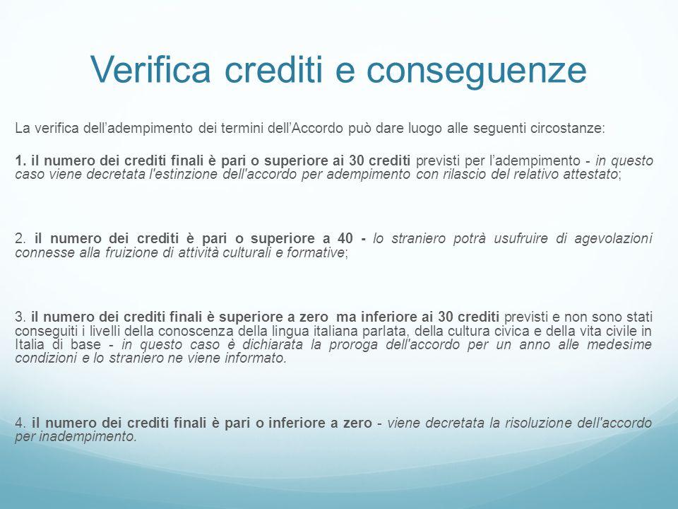 Verifica crediti e conseguenze La verifica dell'adempimento dei termini dell'Accordo può dare luogo alle seguenti circostanze: 1. il numero dei credit