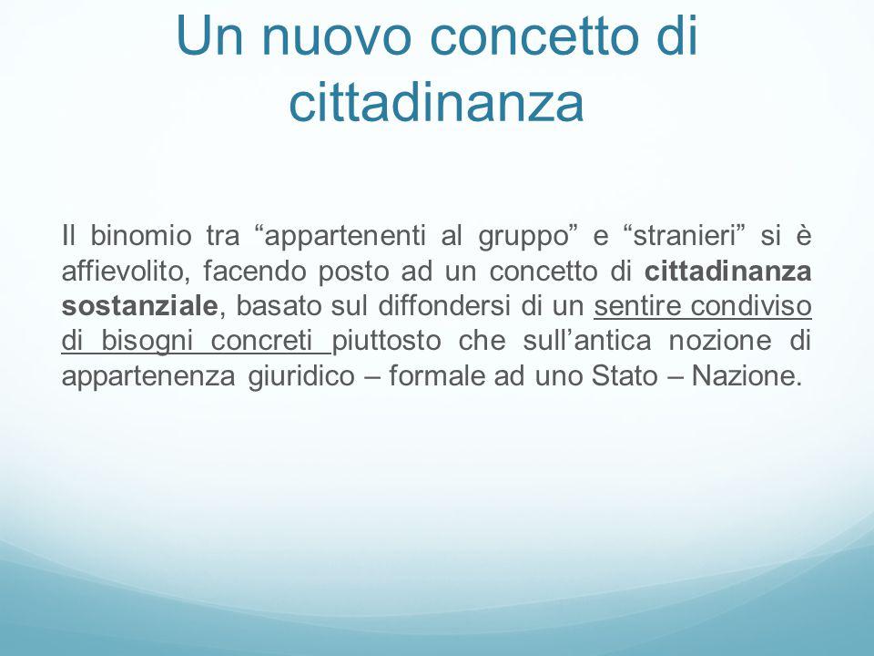 """Un nuovo concetto di cittadinanza Il binomio tra """"appartenenti al gruppo"""" e """"stranieri"""" si è affievolito, facendo posto ad un concetto di cittadinanza"""