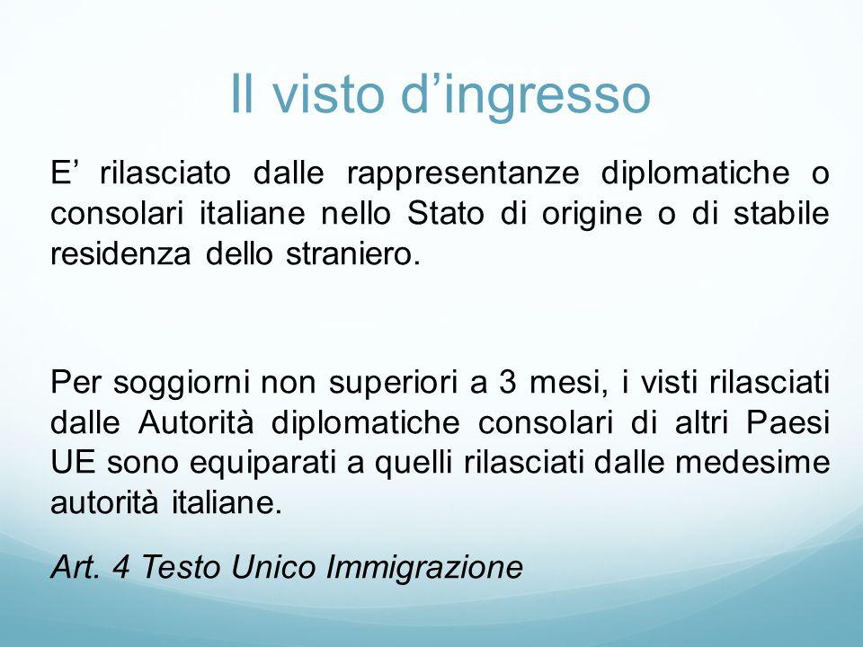 Il visto d'ingresso E' rilasciato dalle rappresentanze diplomatiche o consolari italiane nello Stato di origine o di stabile residenza dello straniero