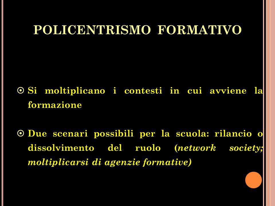 POLICENTRISMO FORMATIVO  Si moltiplicano i contesti in cui avviene la formazione  Due scenari possibili per la scuola: rilancio o dissolvimento del ruolo ( network society; moltiplicarsi di agenzie formative)