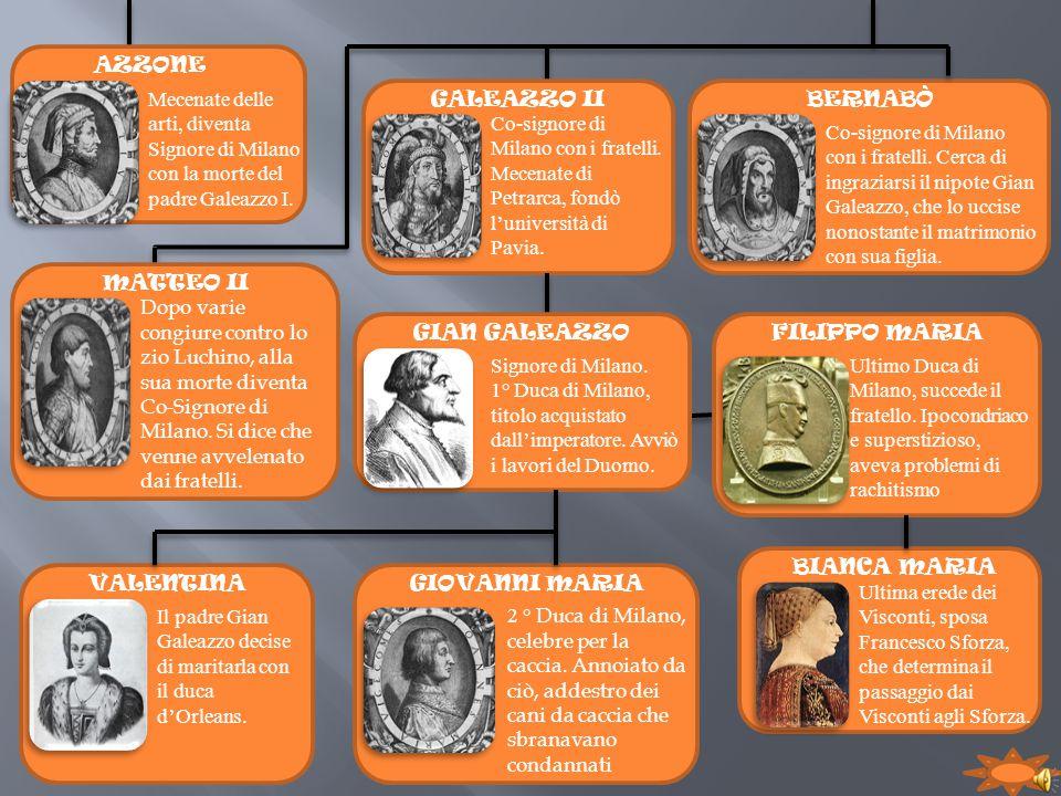 AZZONE Mecenate delle arti, diventa Signore di Milano con la morte del padre Galeazzo I. MATTEO II Dopo varie congiure contro lo zio Luchino, alla sua