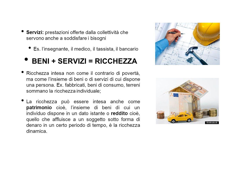 Servizi: prestazioni offerte dalla collettività che servono anche a soddisfare i bisogni Es. l'insegnante, il medico, il tassista, il bancario BENI +