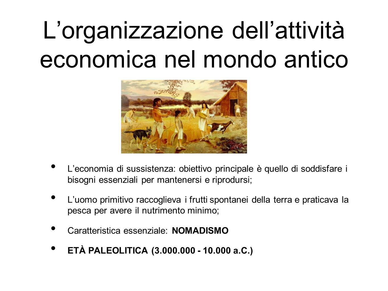L'organizzazione dell'attività economica nel mondo antico L'economia di sussistenza: obiettivo principale è quello di soddisfare i bisogni essenziali