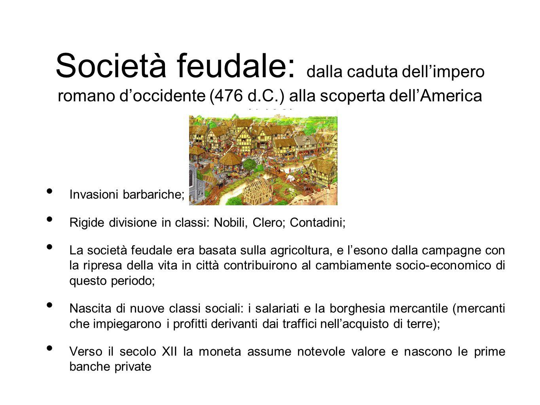 Società feudale: dalla caduta dell'impero romano d'occidente (476 d.C.) alla scoperta dell'America (1492) Invasioni barbariche; Rigide divisione in cl