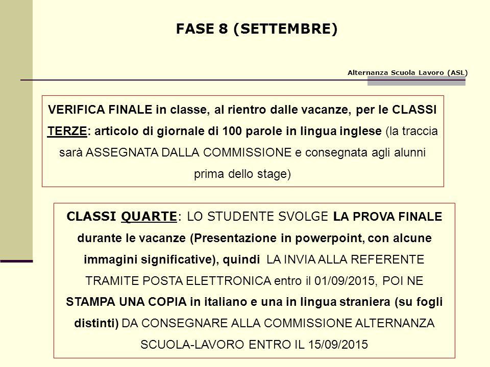 FASE 8 (SETTEMBRE) VERIFICA FINALE in classe, al rientro dalle vacanze, per le CLASSI TERZE: articolo di giornale di 100 parole in lingua inglese (la