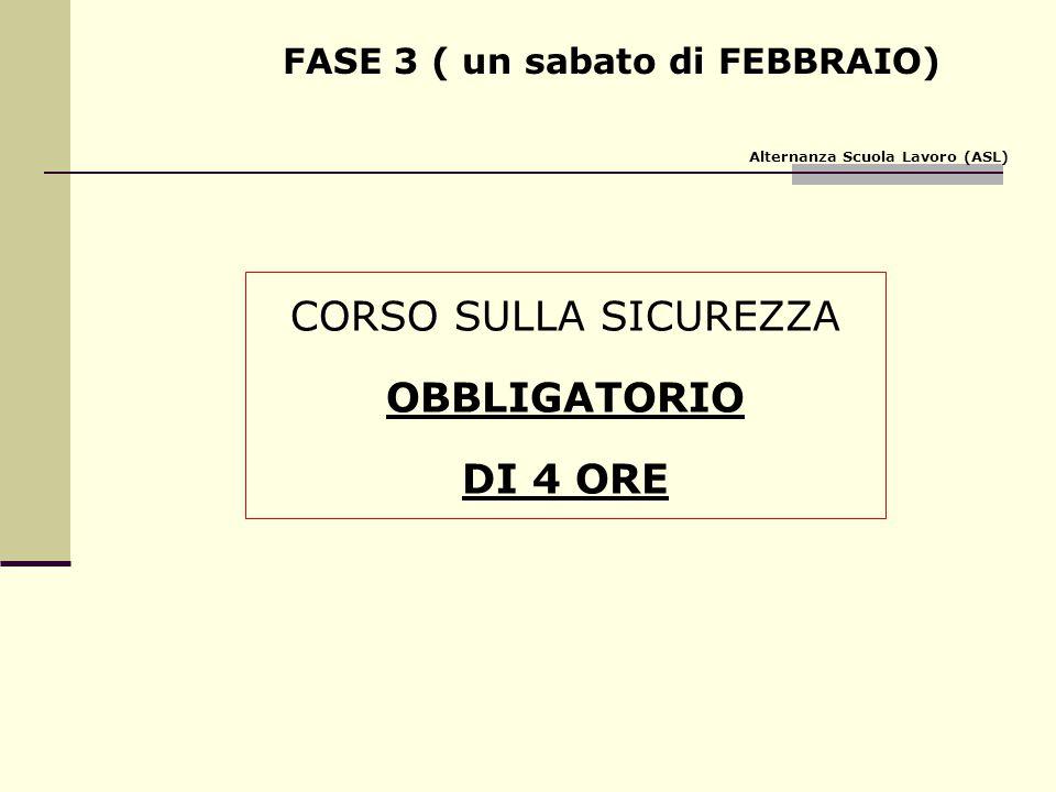 FASE 3 ( un sabato di FEBBRAIO) CORSO SULLA SICUREZZA OBBLIGATORIO DI 4 ORE Alternanza Scuola Lavoro (ASL)
