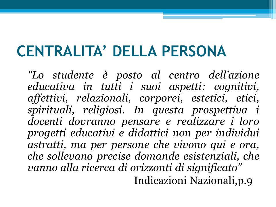 CENTRALITA' DELLA PERSONA Lo studente è posto al centro dell'azione educativa in tutti i suoi aspetti: cognitivi, affettivi, relazionali, corporei, estetici, etici, spirituali, religiosi.