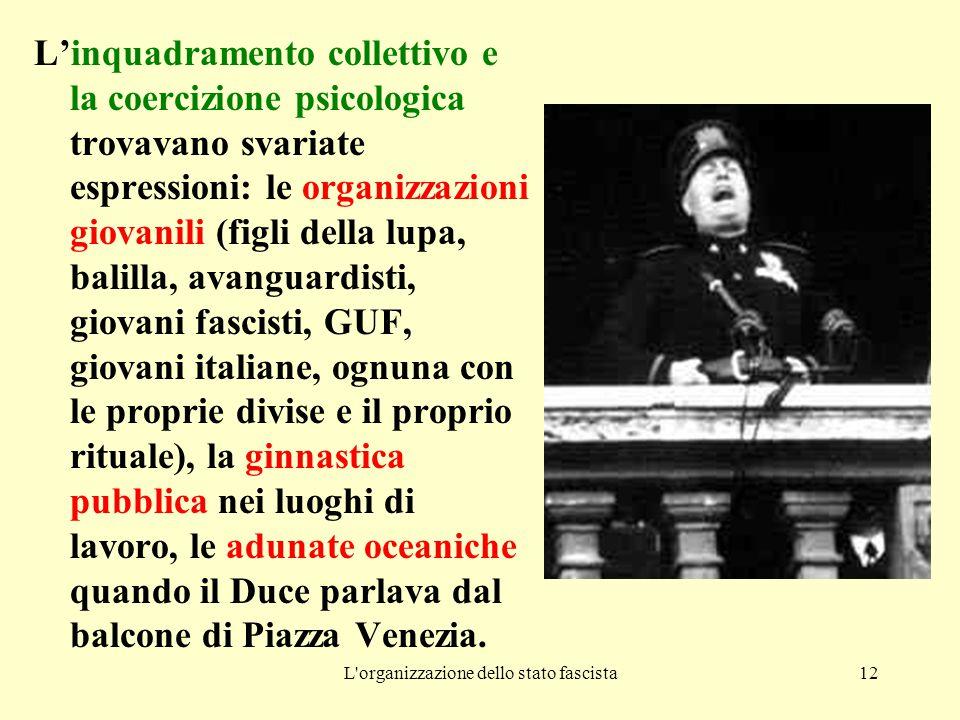 L'organizzazione dello stato fascista12 L'inquadramento collettivo e la coercizione psicologica trovavano svariate espressioni: le organizzazioni giov