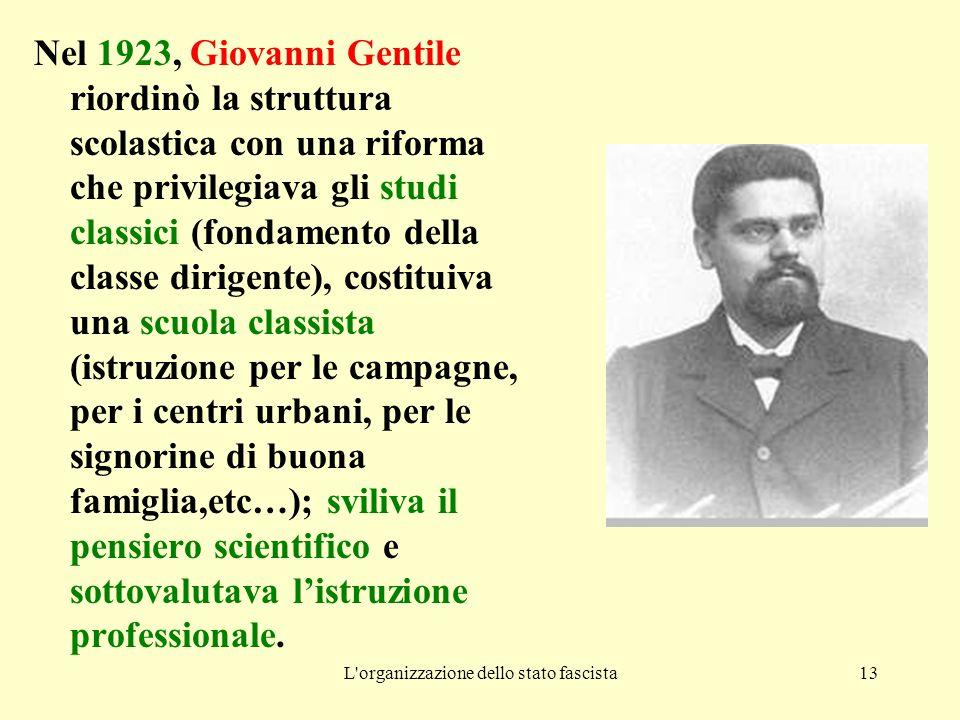 L'organizzazione dello stato fascista13 Nel 1923, Giovanni Gentile riordinò la struttura scolastica con una riforma che privilegiava gli studi classic