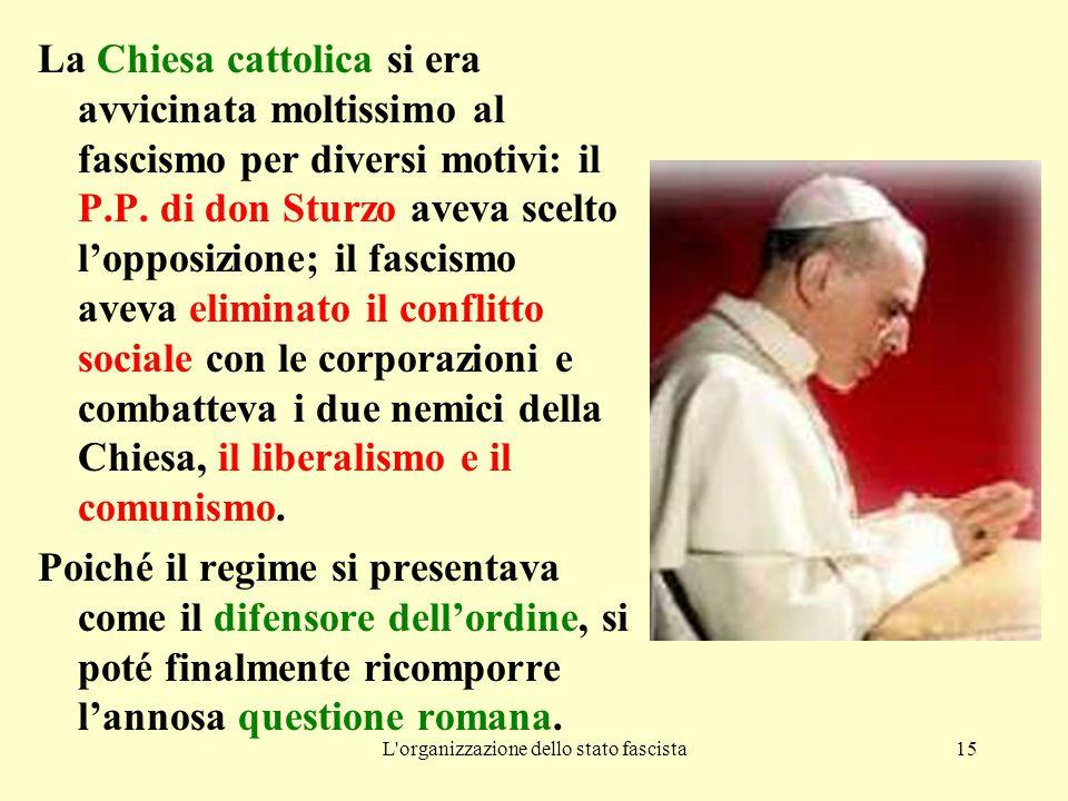 L'organizzazione dello stato fascista15 La Chiesa cattolica si era avvicinata moltissimo al fascismo per diversi motivi: il P.P. di don Sturzo aveva s