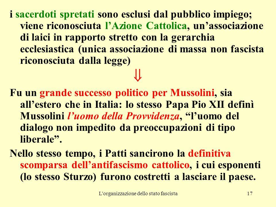 L organizzazione dello stato fascista17 i sacerdoti spretati sono esclusi dal pubblico impiego; viene riconosciuta l'Azione Cattolica, un'associazione di laici in rapporto stretto con la gerarchia ecclesiastica (unica associazione di massa non fascista riconosciuta dalla legge)  Fu un grande successo politico per Mussolini, sia all'estero che in Italia: lo stesso Papa Pio XII definì Mussolini l'uomo della Provvidenza, l'uomo del dialogo non impedito da preoccupazioni di tipo liberale .