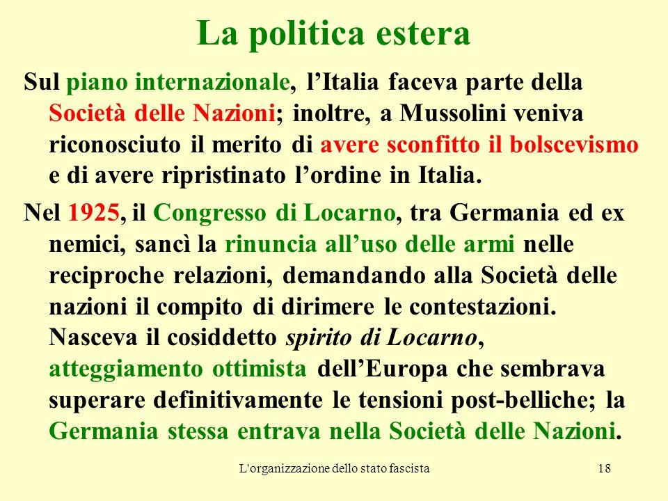 L'organizzazione dello stato fascista18 La politica estera Sul piano internazionale, l'Italia faceva parte della Società delle Nazioni; inoltre, a Mus