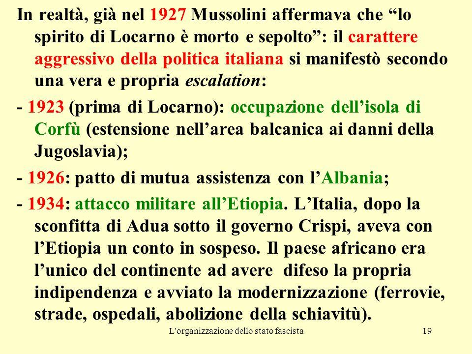 """L'organizzazione dello stato fascista19 In realtà, già nel 1927 Mussolini affermava che """"lo spirito di Locarno è morto e sepolto"""": il carattere aggres"""