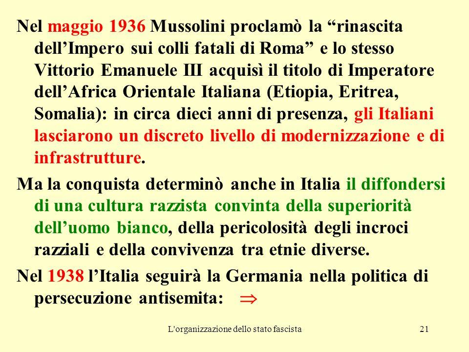 L organizzazione dello stato fascista21 Nel maggio 1936 Mussolini proclamò la rinascita dell'Impero sui colli fatali di Roma e lo stesso Vittorio Emanuele III acquisì il titolo di Imperatore dell'Africa Orientale Italiana (Etiopia, Eritrea, Somalia): in circa dieci anni di presenza, gli Italiani lasciarono un discreto livello di modernizzazione e di infrastrutture.