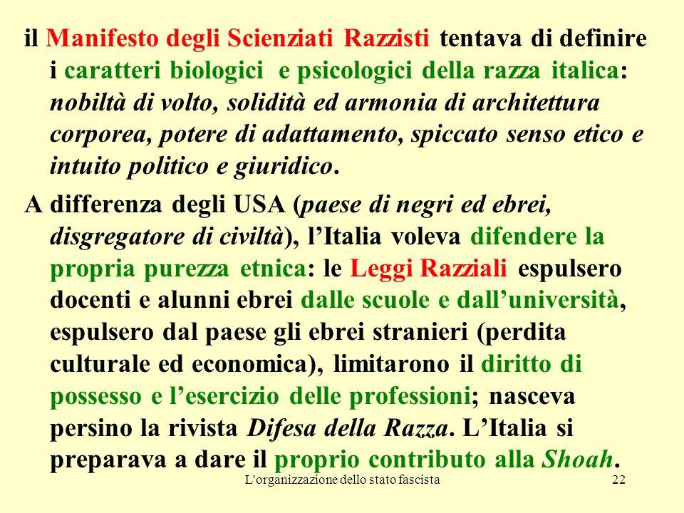 L'organizzazione dello stato fascista22 il Manifesto degli Scienziati Razzisti tentava di definire i caratteri biologici e psicologici della razza ita