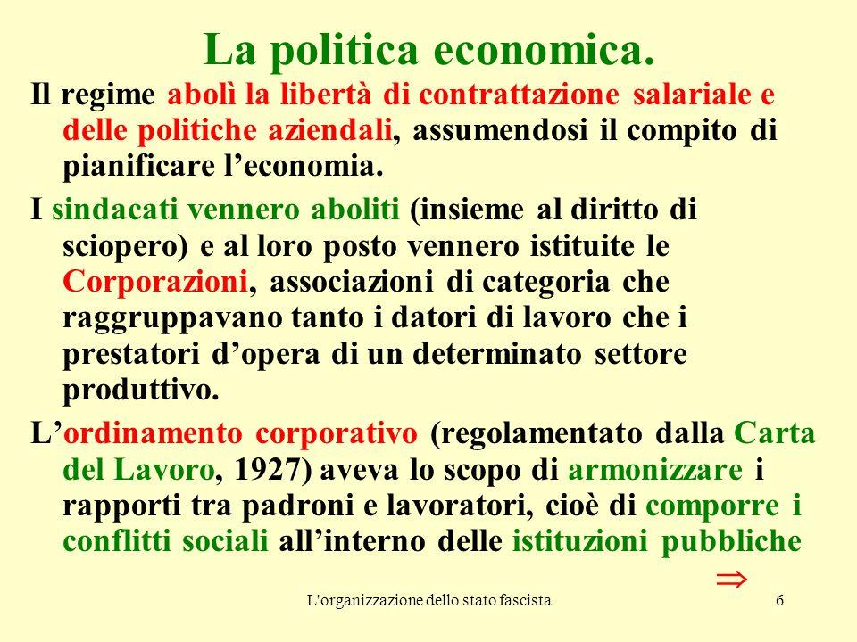 L'organizzazione dello stato fascista6 La politica economica. Il regime abolì la libertà di contrattazione salariale e delle politiche aziendali, assu