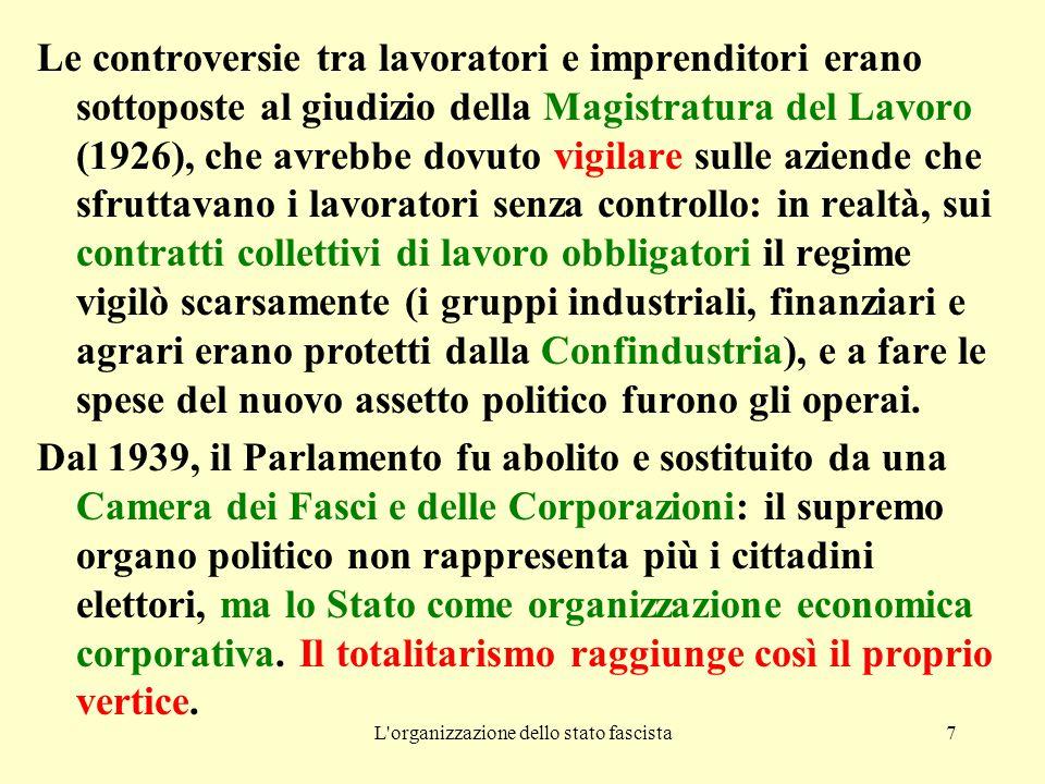 L'organizzazione dello stato fascista7 Le controversie tra lavoratori e imprenditori erano sottoposte al giudizio della Magistratura del Lavoro (1926)