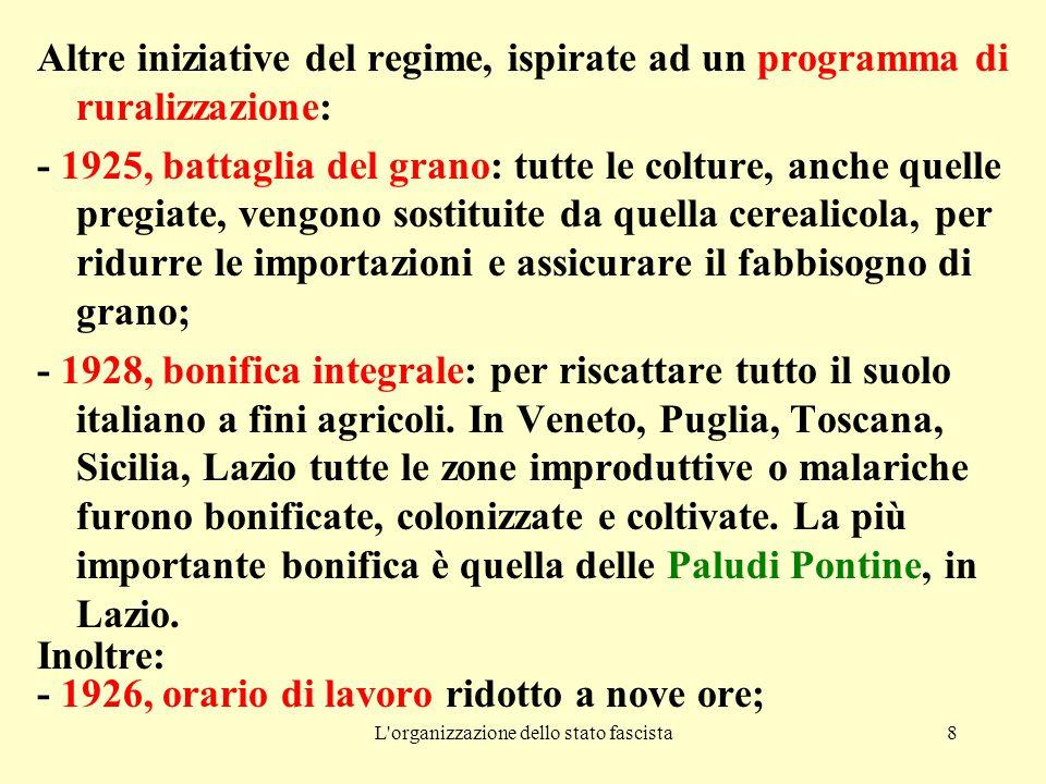L'organizzazione dello stato fascista8 Altre iniziative del regime, ispirate ad un programma di ruralizzazione: - 1925, battaglia del grano: tutte le