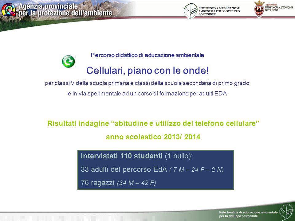 Percorso didattico di educazione ambientale Cellulari, piano con le onde! per classi V della scuola primaria e classi della scuola secondaria di primo