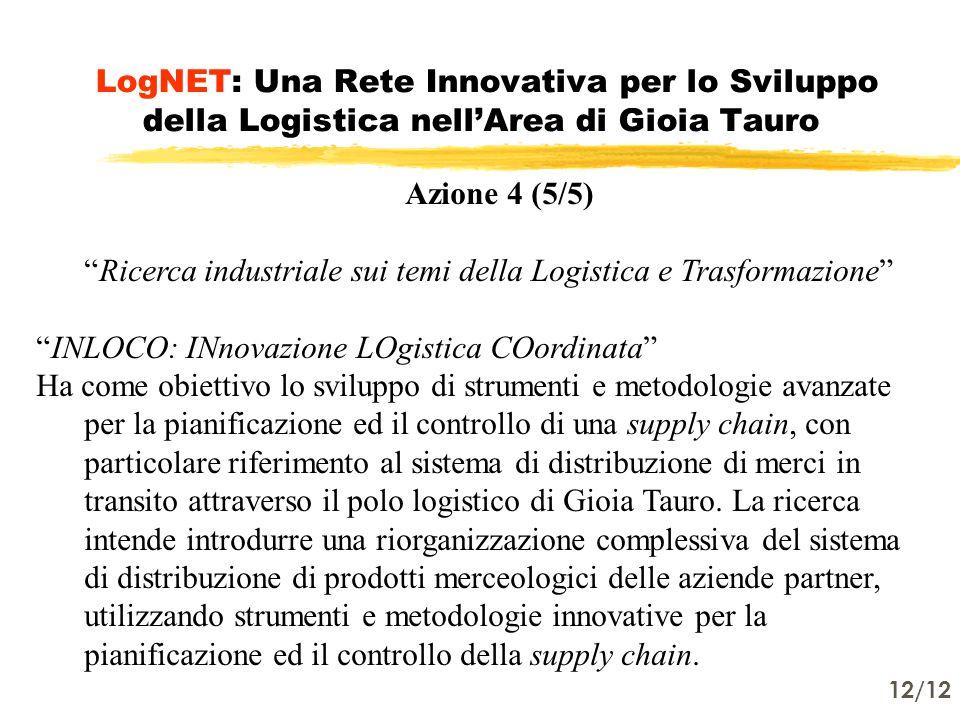 12/12 LogNET: Una Rete Innovativa per lo Sviluppo della Logistica nell'Area di Gioia Tauro Azione 4 (5/5) Ricerca industriale sui temi della Logistica e Trasformazione INLOCO: INnovazione LOgistica COordinata Ha come obiettivo lo sviluppo di strumenti e metodologie avanzate per la pianificazione ed il controllo di una supply chain, con particolare riferimento al sistema di distribuzione di merci in transito attraverso il polo logistico di Gioia Tauro.