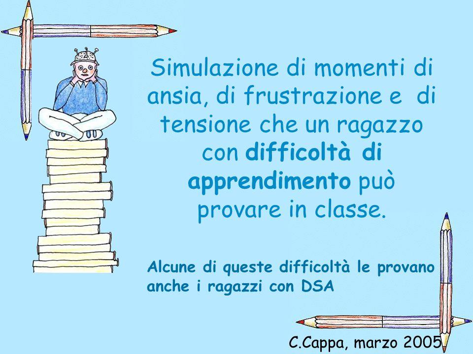 Simulazione di momenti di ansia, di frustrazione e di tensione che un ragazzo con difficoltà di apprendimento può provare in classe.