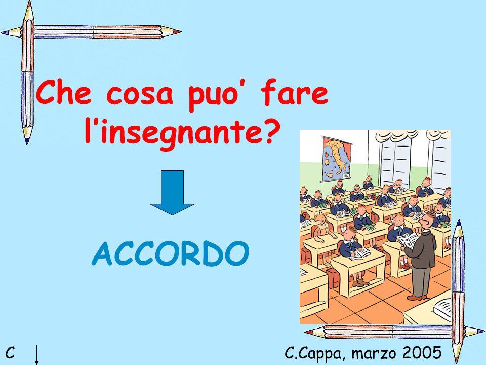 Che cosa puo' fare l'insegnante? C ACCORDO C.Cappa, marzo 2005