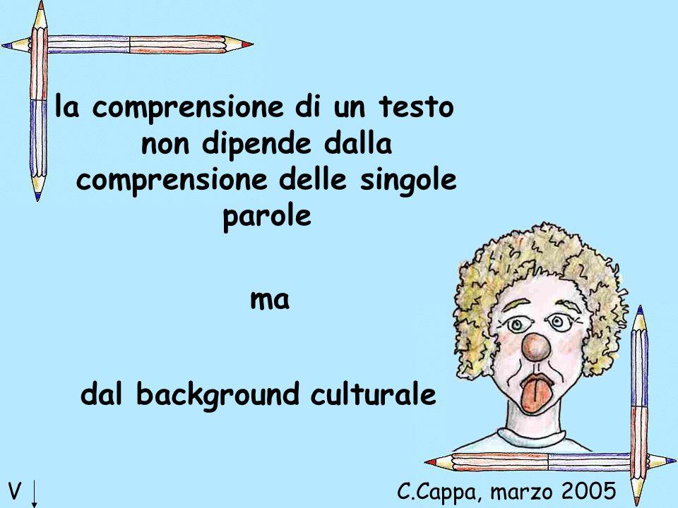 la comprensione di un testo non dipende dalla comprensione delle singole parole ma dal background culturale VC.Cappa, marzo 2005