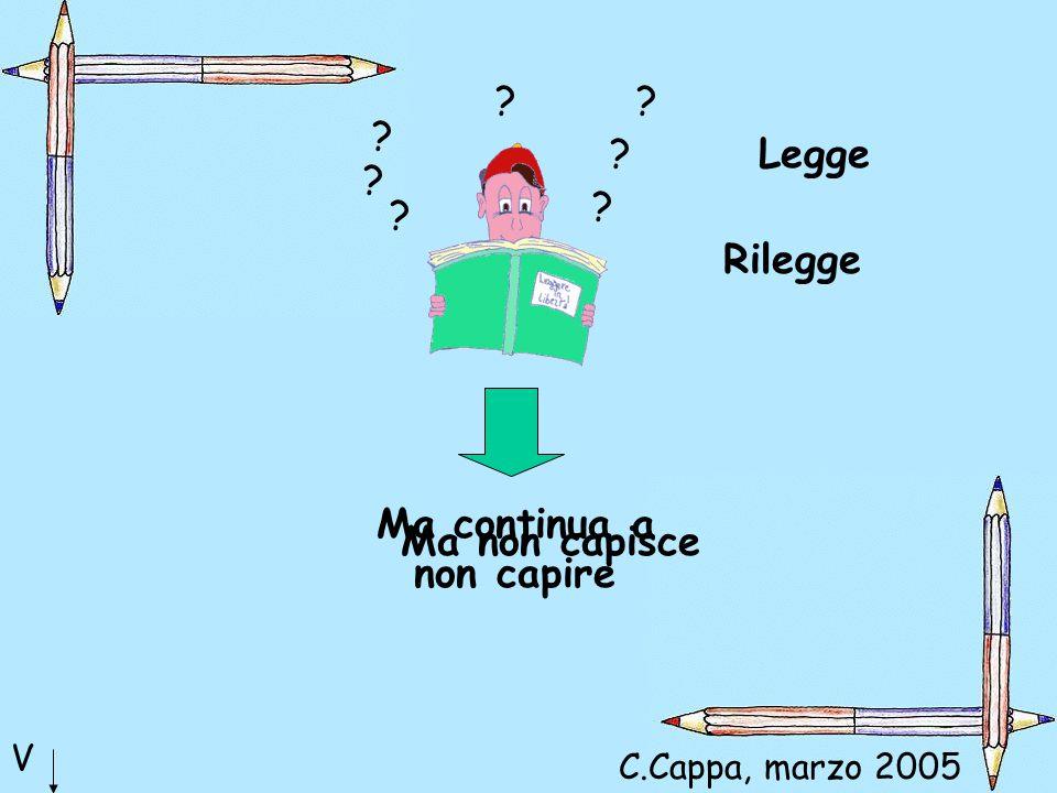 ? ? ? ? ? ? ? Legge Rilegge Ma continua a non capire V Ma non capisce C.Cappa, marzo 2005