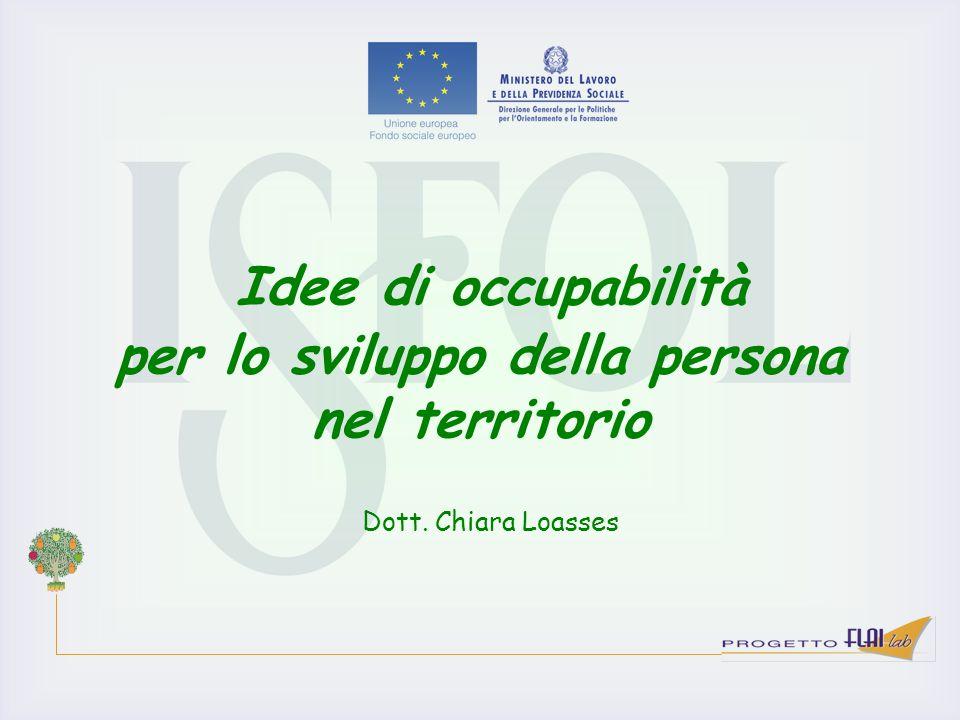 Idee di occupabilità per lo sviluppo della persona nel territorio Dott. Chiara Loasses