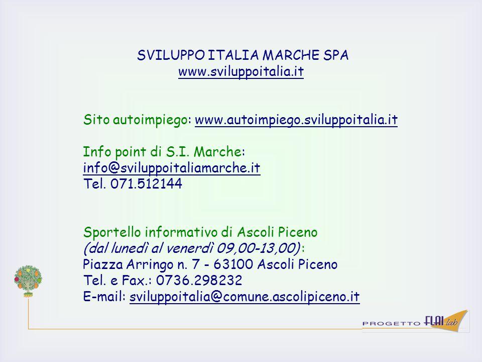 SVILUPPO ITALIA MARCHE SPA www.sviluppoitalia.it Sito autoimpiego: www.autoimpiego.sviluppoitalia.it Info point di S.I. Marche: info@sviluppoitaliamar