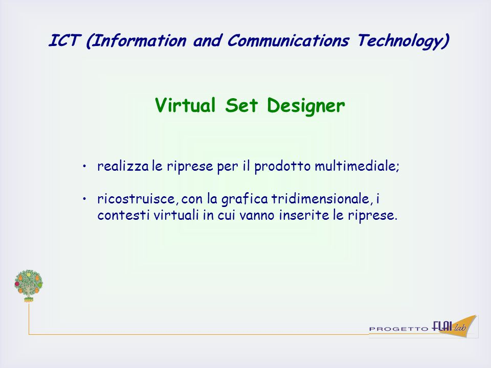ICT (Information and Communications Technology) realizza le riprese per il prodotto multimediale; ricostruisce, con la grafica tridimensionale, i cont