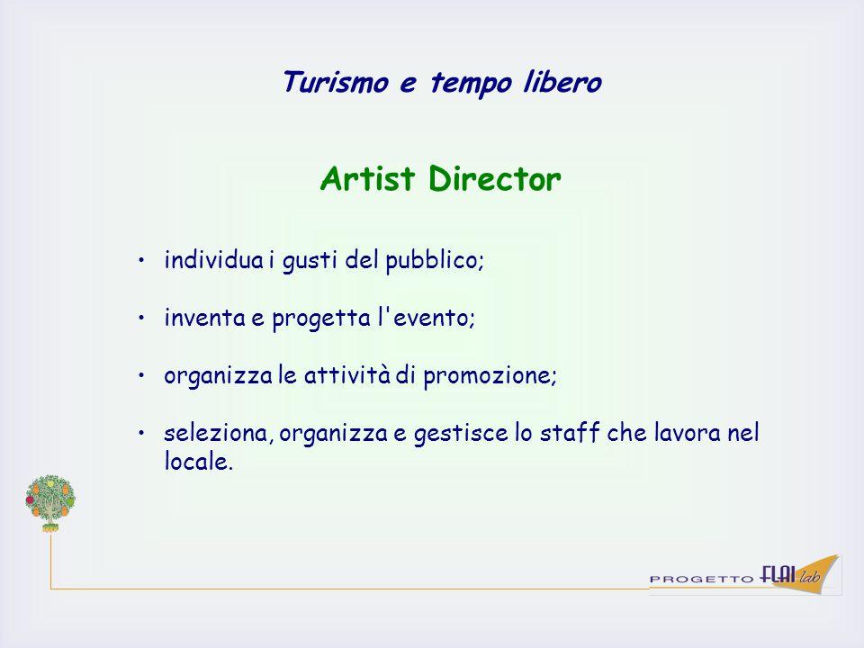 Turismo e tempo libero individua i gusti del pubblico; inventa e progetta l'evento; organizza le attività di promozione; seleziona, organizza e gestis