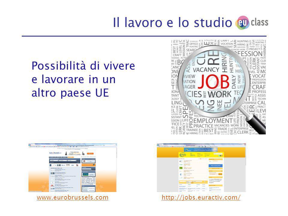 Il lavoro e lo studio Possibilità di vivere e lavorare in un altro paese UE www.eurobrussels.com http://jobs.euractiv.com/