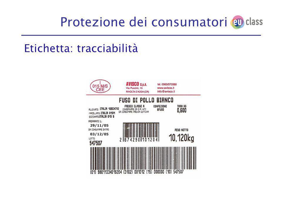 Protezione dei consumatori Etichetta: tracciabilità