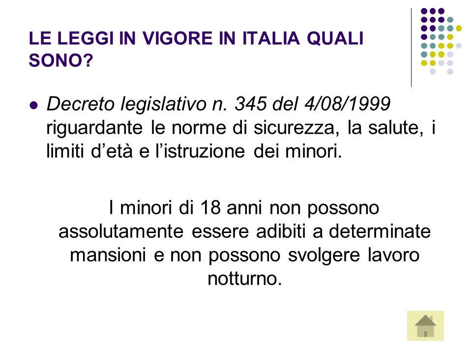 LE LEGGI IN VIGORE IN ITALIA QUALI SONO? Decreto legislativo n. 345 del 4/08/1999 riguardante le norme di sicurezza, la salute, i limiti d'età e l'ist