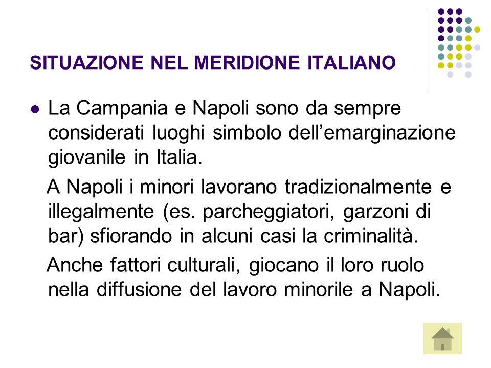SITUAZIONE NEL MERIDIONE ITALIANO La Campania e Napoli sono da sempre considerati luoghi simbolo dell'emarginazione giovanile in Italia. A Napoli i mi