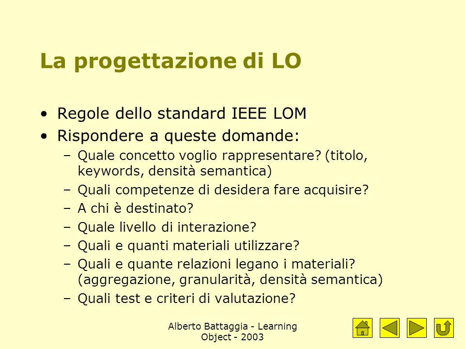Alberto Battaggia - Learning Object - 2003 La progettazione di LO Regole dello standard IEEE LOM Rispondere a queste domande: –Quale concetto voglio rappresentare.