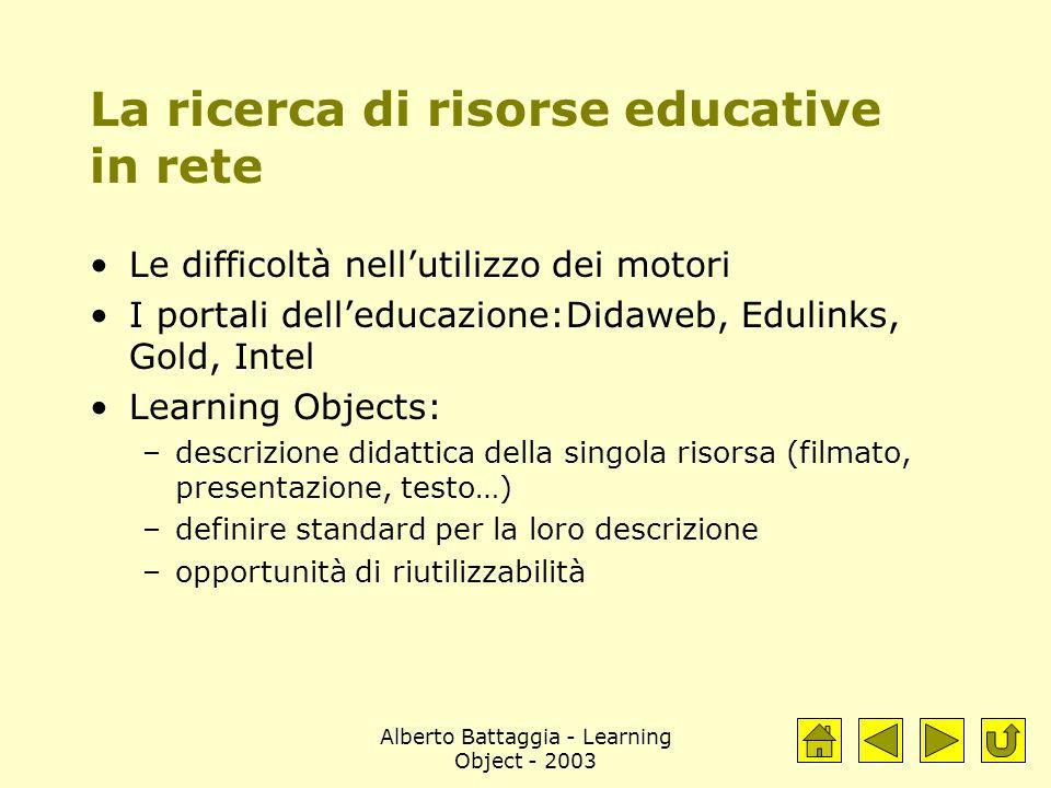 Alberto Battaggia - Learning Object - 2003 La ricerca di risorse educative in rete Le difficoltà nell'utilizzo dei motori I portali dell'educazione:Di