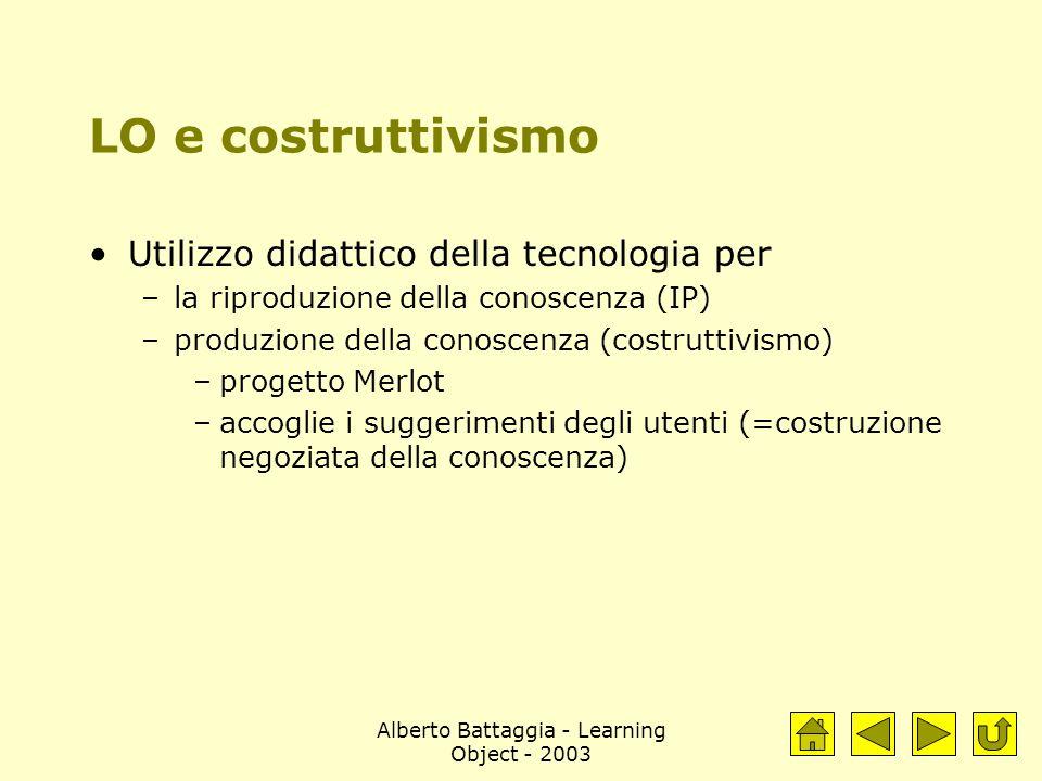 Alberto Battaggia - Learning Object - 2003 LO e costruttivismo Utilizzo didattico della tecnologia per –la riproduzione della conoscenza (IP) –produzi