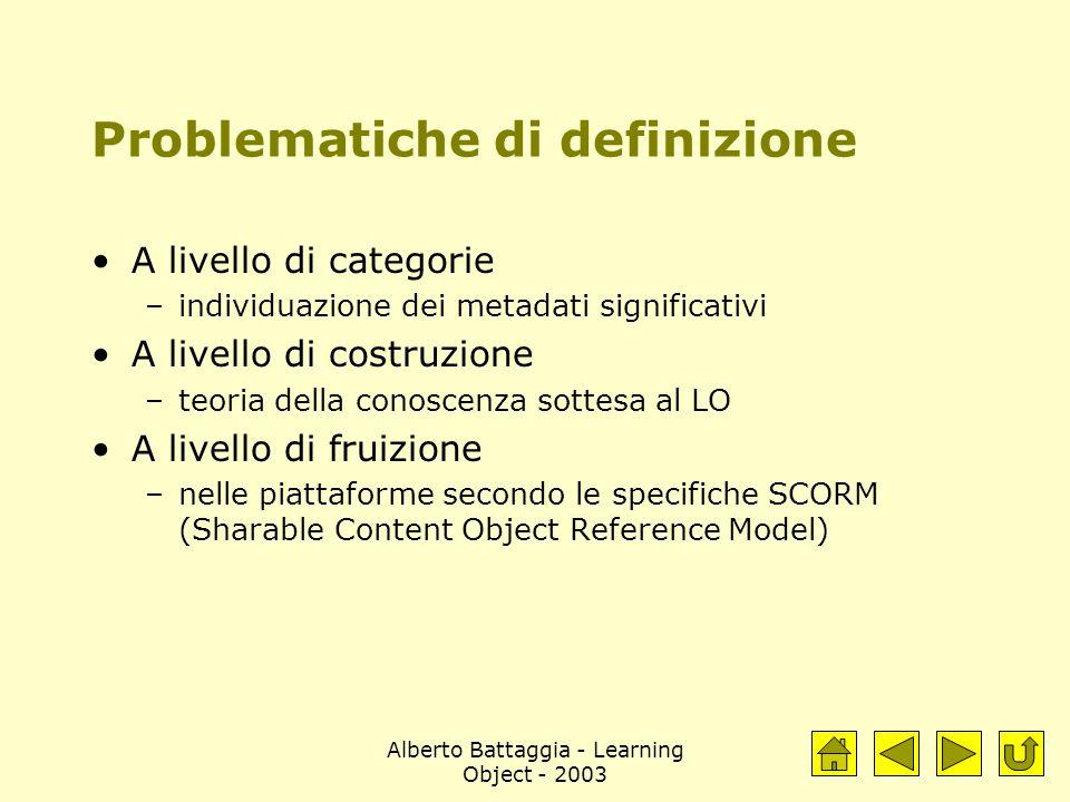 Alberto Battaggia - Learning Object - 2003 Problematiche di definizione A livello di categorie –individuazione dei metadati significativi A livello di costruzione –teoria della conoscenza sottesa al LO A livello di fruizione –nelle piattaforme secondo le specifiche SCORM (Sharable Content Object Reference Model)